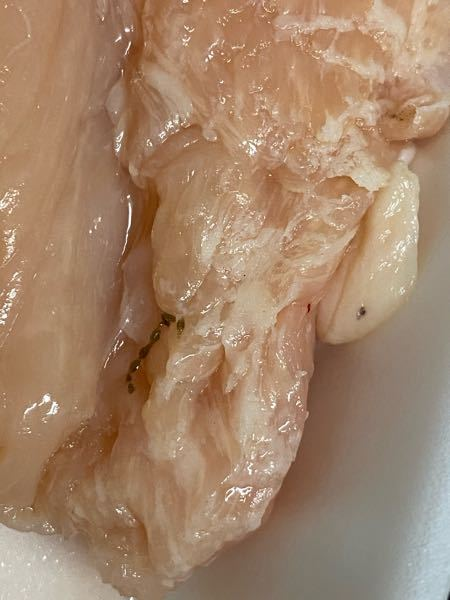 鶏胸肉について 先日スーパーで購入した鶏胸肉を調理しようと冷蔵庫から取り出すと画像のような黒い粒々したものが表面にくっついていました。 最初は血管の一部かと思い取り除いてよく見てみると虫のように...