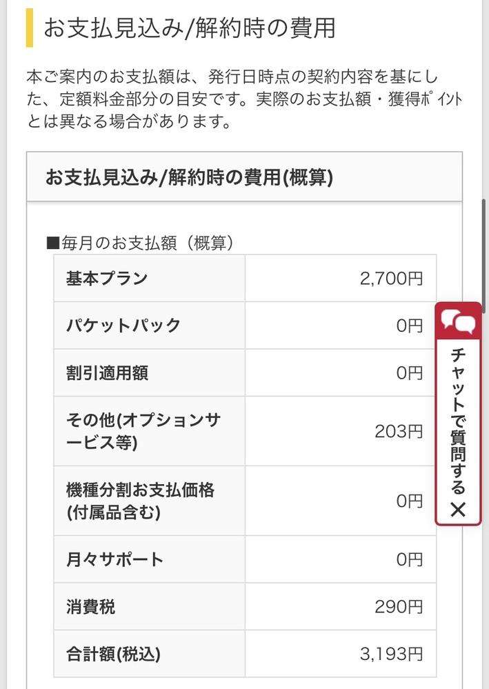 アハモの申し込みで最後の支払い画面を確認したところ、その他オプションのところに203円と、 設...