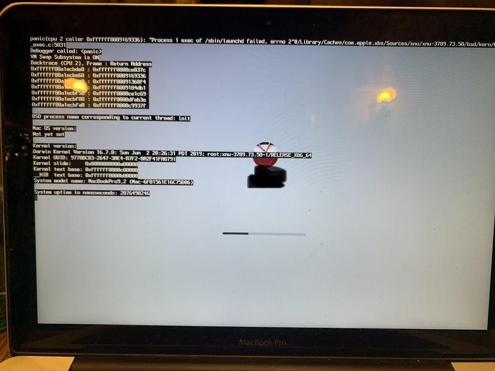 MacBook Proについてです。 だいぶ型落ちのMacBookを使用しておりました。Pagesの縦書きが利用したいので、アプデをしようと試みました。10.11→10.12まではできたのですが、10.13に移行しようとした際にエラーが発生し起動まで辿りつけなくなりました。お知恵をおかりしたいです。 使用中のMacBook MacBook Pro Mid2012 HDD500GB メモリ...