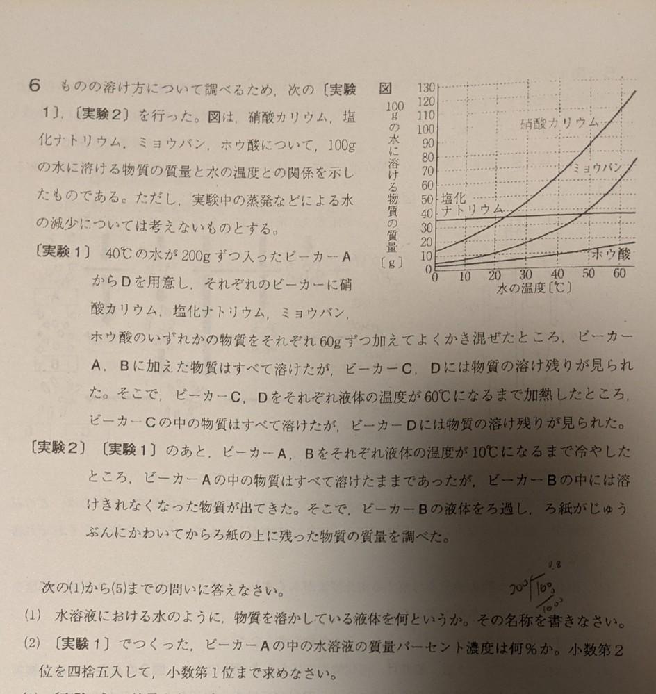 この理科の問題(2)が理解出来ません。 答えは23.1%です。 なぜこうなるなのか教えて頂けませんか? 宜しくお願いいたします。
