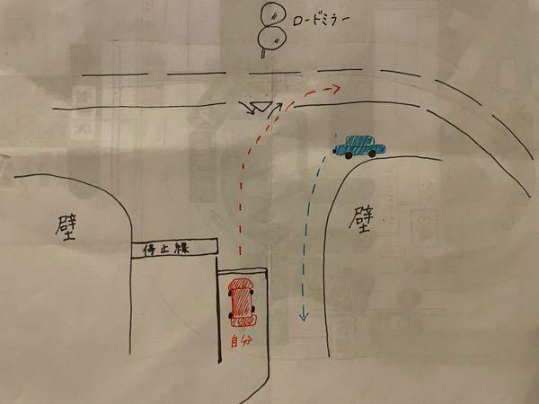 イラストが分かりづらいかもしれませんが、 ここで右折する時に対向車が左折する場合 自分(赤い車)は左折する対向車を待たず 右折してもいいのでしょうか??? 指導員からは「自分に害がないと判断した時点で行け」と言われたのですが、その判断がいまいちよく分かりません…( ; ; )