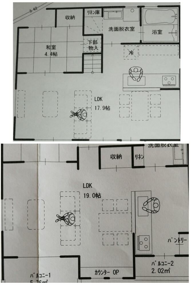 新築一戸建てを購入予定です。 キッチンとリビングがI型か L型、どちらの間取りの方が広く感じますか? I型はダイニングスペースの下に勉強スペースがあるので畳数が少し広いですがこれを削って18畳にすることも可能です。同じ18畳で比較した場合、どちらが広く感じますか? ダイニング付近の勉強スペースが必要かどうかも、ご教頂けると有難いです。 よろしくお願い致します。