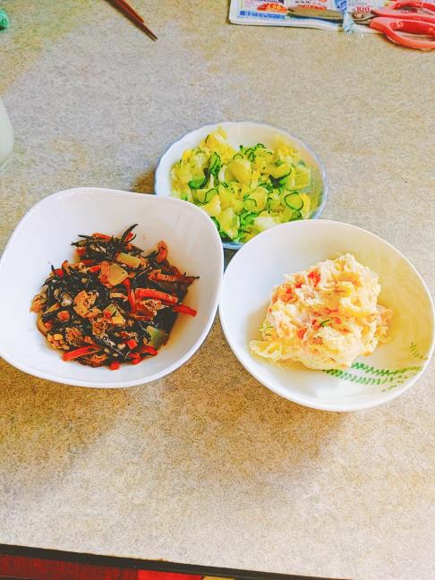 ひじき煮 キュウリとキャベツの即席漬け ポテトサラダ 美味しそうですか?