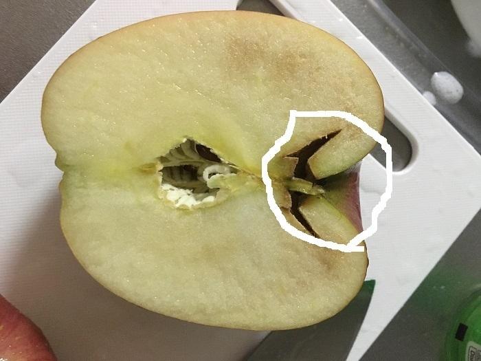 私がよく行くスーパーでりんごを買うと、一定の確率で画像のようなりんごを引き当ててしまうのですが、あの内部の穴はなんですか? 外からは全く見破れません。