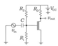 以下の電子回路図からG(jω)=vout/vinを求める問題で答えが分からず困っています。 vgs=vgで、vout=-gmvgs×Rdであることは分かりました。あと、vinとvgの関係式を立てるだけなのですが、コンデンサと抵抗が並列になっている+電源が入っていることからうまく導き出せません。分かる方いらっしゃいましたらお願いします。 式だけでなく、どのように考えたかも載せていただけると幸いです。