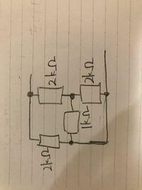 この回路の合成抵抗の求め方を教えてください (キルヒホッフを使ってみたのですが、途中でわからなくなりました、、) 導出の方法をより詳しく書いてくれた方にベストアンサーを差し上げます