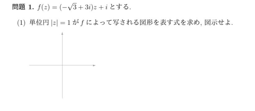この問題の図は(0,i)が中心の半径1の円だと思うのですが、この図の式は問題のままのf(z)=(-√3+3i)z+iとは違うのですか? よくわからないのでわかる方詳しく教えてください?