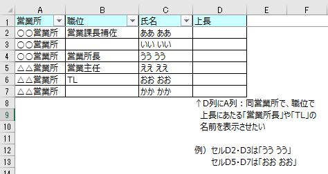 Excelの関数について教えてください。 画像の通り、リストの中で同じ営業所の上長にあたる人の名前を表示させたいのですが、どの様な関数の式になりますか?