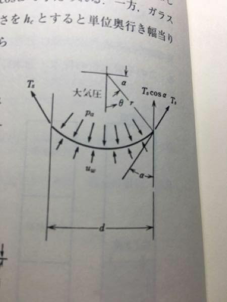 地盤工学について質問したいことがあります。 単位長さあたりの表面張力Tsをつかった、 uw=pa-Ts/r(uw=水の中の絶対圧力、pa=メニスカスの上側の空気に接している大気圧)という式があります。この式のrの原点はどこから測って、毛細管の端までの端までの距離ですか? そして、上式の次元を同じにするために距離を割っているようですが、なぜそこでrが使われるのですか? rの正体がいまだに...