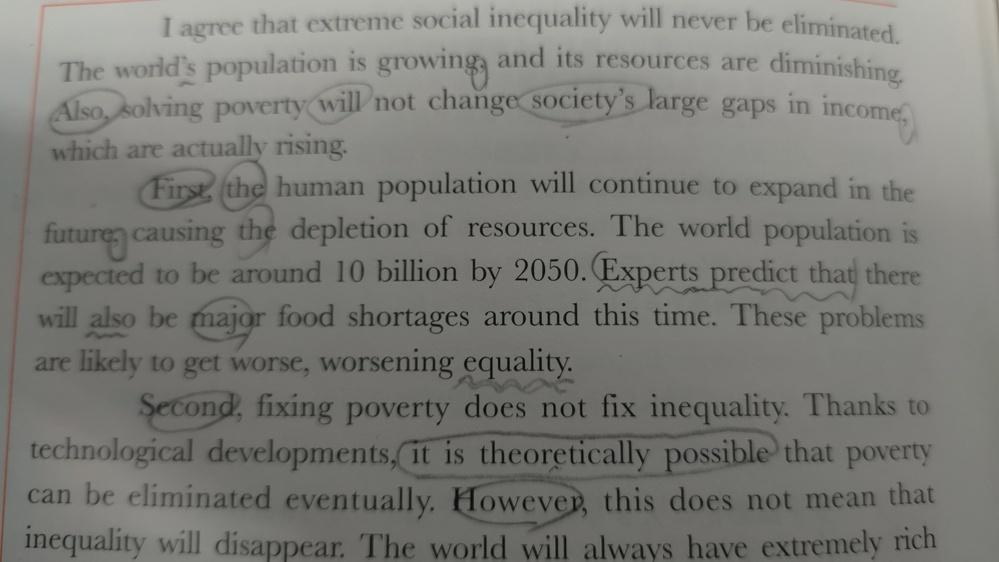 These problems are likely to get worse, worsening equality. という文が中盤にます こうした問題は更に悪化する見込みで よって平等も悪化すると これ よって不平等も悪化する worsening inequalityじゃないんですか? この本には訳が よって不平等が拡大するとなっています。 なぜworsening equali...