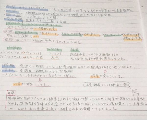 中2です、ノートの取り方について ノートの色の使い方や、位置など、どう思いますか? ぜひぜひアドバイスや見返しやすいかなど アドバイスお願いします。