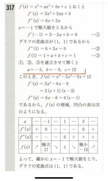 「3次関数y=x^3+ax^2+bx+cはx=-1で極大値をとり、グラフの変曲点は(1,1)である。このとき定数a,b,cを求めよ。」という問題で、解説が添付画像なのですが、赤線の部分で終わってしまったらだめなのでしょうか? もし検証が必要だとしたら、検証する問題としない問題の違いは何なのでしょうか? 数学に詳しい方、教えていただけませんでしょうか?