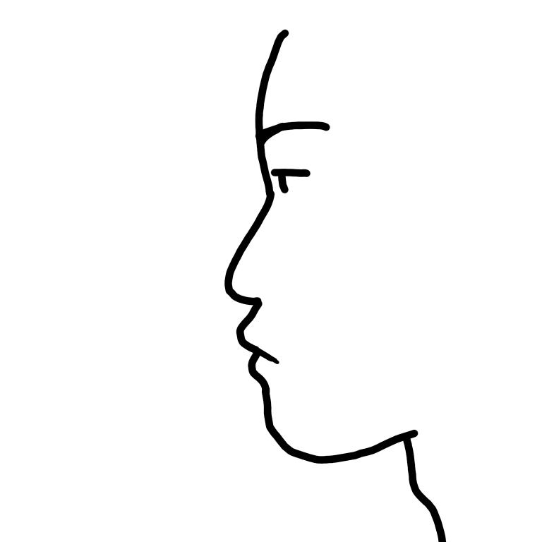 横顔こんな感じで顎の丸みを どうにかしたいです 方法教えてください