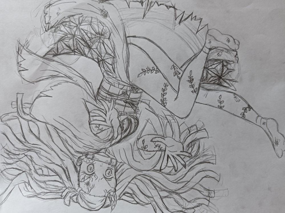 お絵描き大好きな小6です。 禰豆子を描いてみました(下描きです) 爆血してるところを描きたいので、炎のエフェクトの描き方を教えて下さい。 辛口OKなので、もし良ければ、この絵の良い所や改善点などを教えて頂ければ幸いです。