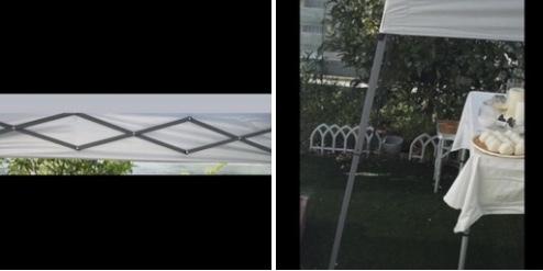 タープテント どこの商品かわかる方いますか? パイプはスチール 色はホワイト ワンタッチ アウトドア キャンプ