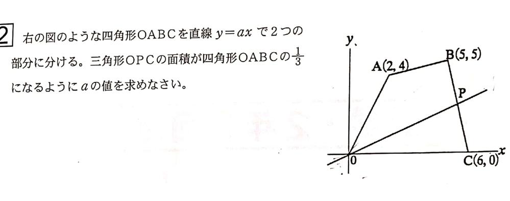 中学校2年生、数学の問題が解けず困っています。 問題:右の図のような三角形OABCを直線y=axで2つの部分に分ける。 三角形OPCの面積が四角形のOABCの面積の3分の1になるようにaの値を求めなさい。 数学が得意な方よろしくお願い致します。