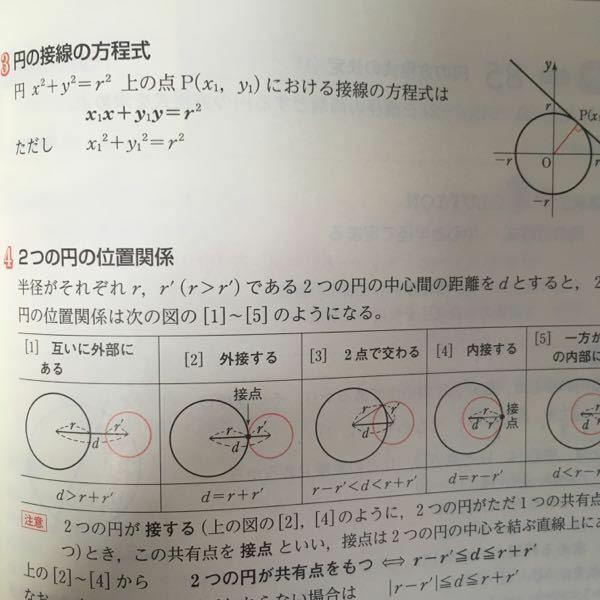 数IIでお聞きします。 円の接線の方程式ですが 下のようになっています。 教科書が手元に無いので分かりませんが この公式が何故そうなるのか 教科書には記載されているので しょうか。 三角比の相互関係(数学I)のように ??そのまま公式のみが記載されて いるんですか?だとすれば 解く方はこの公式を暗記すれば良いと 言う事ですか。(・・?) どなたか詳しい方、よろしく お願いします。