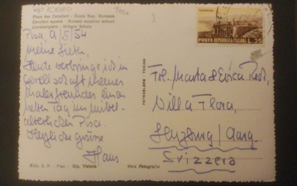 イタリアからスイスへの手紙です。おそらくフランス語だと思うのですが、活字が拾えません。コレクションの一部です。よろしくお願いします。