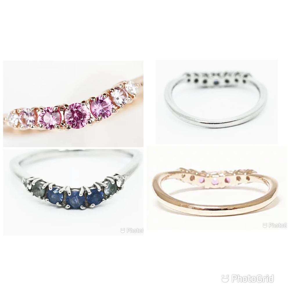 デパート1階によく入っているブランドの指輪の中古品なのですが、これは同じ指輪のカラー違いでしょうか? 6年くらい前に購入を検討した時に、ブルーサファイアとピンクサファイアがあった気がします。ピンクサファイアの方は当時の記憶のままなんですが、ブルーの方は宝石不明で売られており、あまりにも汚いので違うものに見えます。 ブルーサファイアの方は洗浄したらピンクサファイアの方と同じ程度には戻るでしょうか?