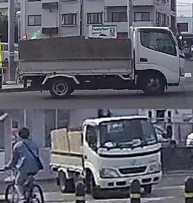 【画像参照】このトラックはどのメーカーの何という名前のトラックでしょうか? ヒノレンジャー?トヨタ?日産?三菱?いすゞ? 当方、トラックの事はさっぱり分かりません。