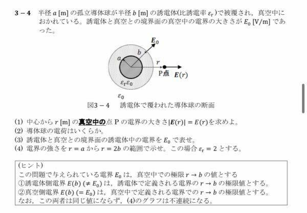 電気磁気学の問題です。解説お願い致します