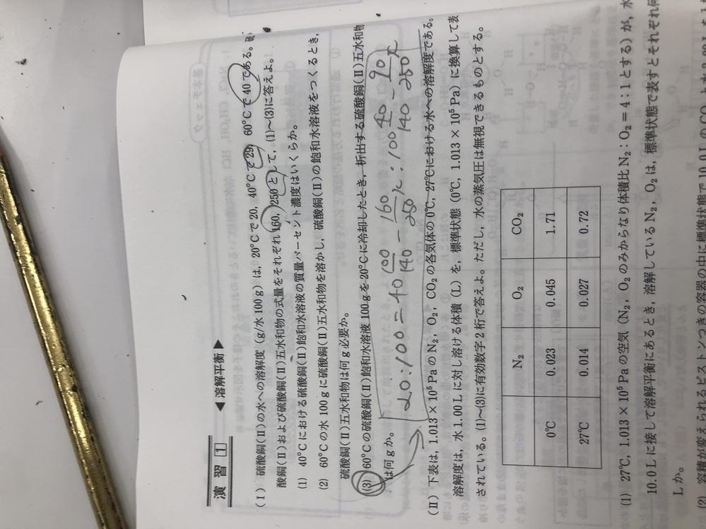 大至急です! この問題、溶質と溶媒について立式したのですが答えが合わなくて困っています