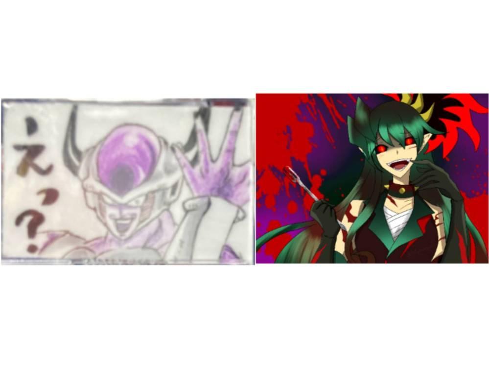 どちらの画像の方が好きですか?理由もお願いします。左はフリーザ、右は擬人化インドラプトル(?)です。