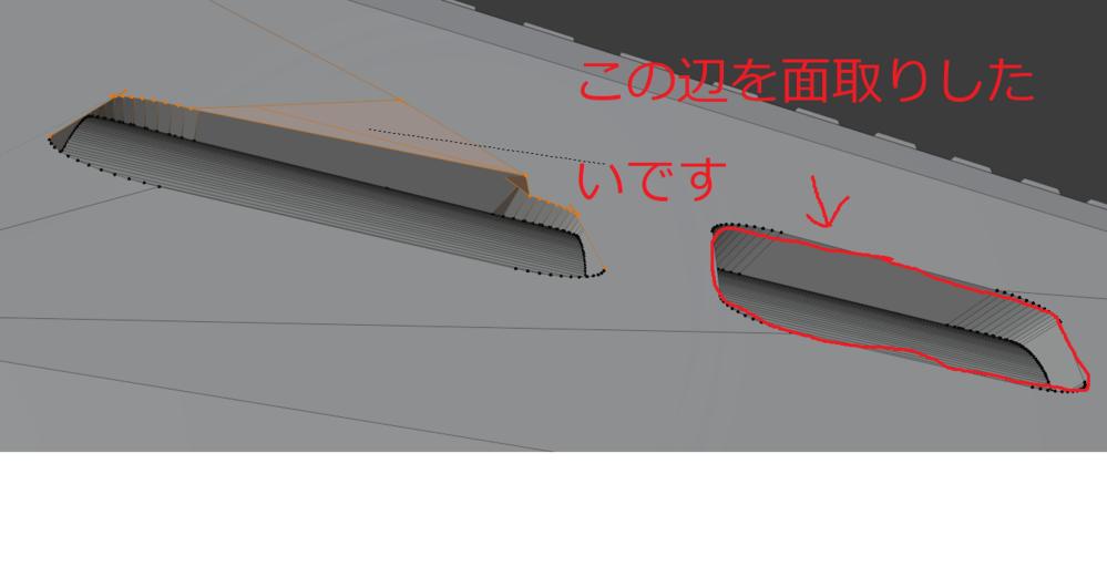 Blender で Ctrl + B でベベルしようとするとぐちゃぐちゃになってしまいます。 赤い線でなぞってる辺を面取りしたいのですがどうすれば良いですか? 回答よろしくお願いします!
