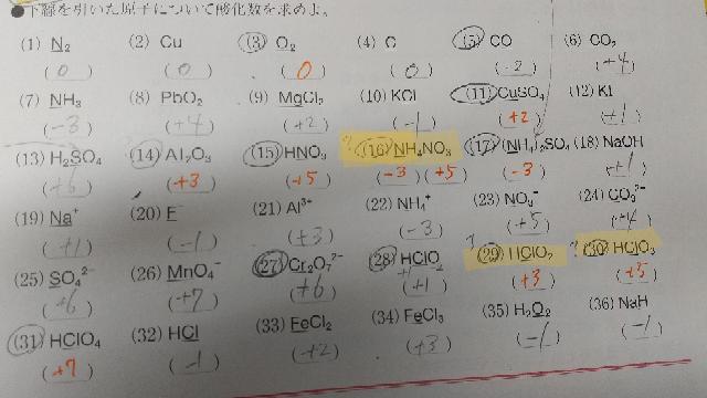 化学基礎 酸化数 色をつけた問題を教えてください。