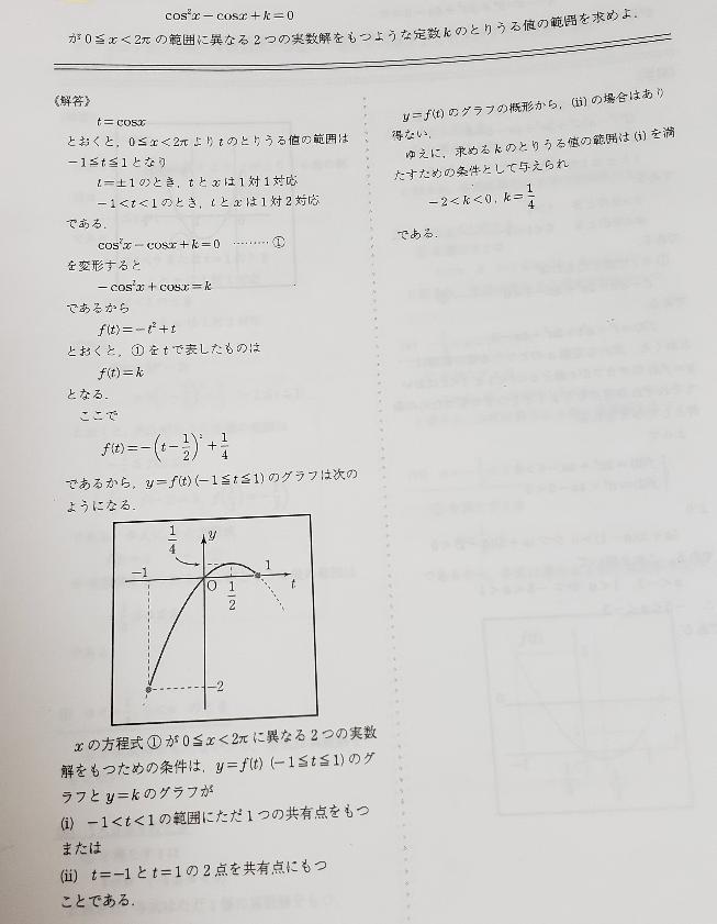 数学高2の問題です。分からないことがあるので教えてください。 kの範囲は-1と+1の部分は異なる2つの実数解を持たないので含まないことはわかるのですが、なぜ、-2<k<0、0<k<¼が答えにならないのですか?0<k<¼は含まれない理由を教えて頂きたいです。