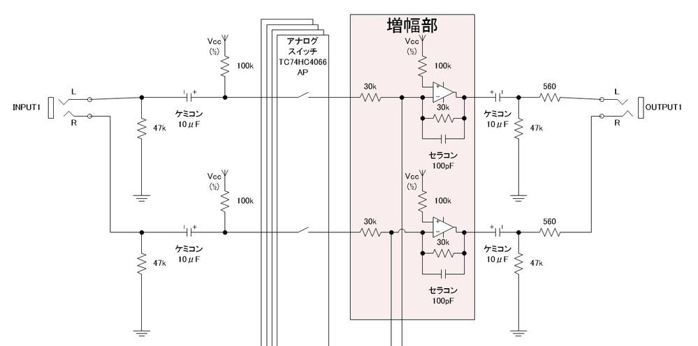 オーディオセレクタ(兼ミキサ)回路について質問です。 https://www.marutsu.co.jp/contents/shop/marutsu/mame/190.html#page_5 上記マルツのページを参考にブレッドボード上で動作確認していますが、 アナログスイッチをオフにしたときの漏れ音量が気になっています。 画像のように簡略化した回路で色々検証してみました。 1. 増幅部の回路を省略すると漏れはほぼ聞こえません。 →外部のアンプで増幅するとやっと聞こえるレベルです。 つまり、ゲイン1倍なのにこの増幅部で漏れが増幅されている? 2. アナログスイッチの出力電圧が、スイッチオフで若干下がります。 →スイッチオン時5.89V、オフで5.7V程度。 30K抵抗の後ろは常時5.89Vなので、この電位差が増幅の原因? (1/2Vccは6Vです) 3. アナログスイッチの出力に、抵抗経由で6Vを印加すると漏れは改善します。 →22Kの抵抗値で若干の改善(5.75V程度)。 1Kの抵抗値で増幅しなくなるのかほぼ聞こえなくなります(5.89V)。 が、1K抵抗では6Vライン経由で信号が他チャンネルに流れ込むので 使えません。 4. アナログスイッチの出力に、セラコン(0.1uF) to GNDを 接続すると漏れは聞こえなくなります。 →なんとなくやってみただけなのですが、これはローパスフィルタでは? セラコン付け外しでオン時の音の違いは私にはわかりませんでしたが、 これは良くない? この問題、アナログスイッチがオフ時にオープンになるせいで増幅率が変化してしまっているのではないかと思うのですが、対策としてはどのような手段が望ましいでしょうか? 現状、4の手段しか見えていないのですが、これは音に悪影響を与える気がしているため避けたいです。 また、少し話しは逸れますが、オペアンプの非反転入力に接続している抵抗値は いくつが望ましいでしょうか。 色々調べたところ、 ・電源オフ時、コンデンサから流れ込む過電流防止の為100~1K。 ・入力バイアス電流を打ち消すためR1(30K)とR2(30K)の並列値。 の2通り見つけましたが、6Vのバイアスを掛けている場合はどうなのかわかりませんでした。 電気回路は素人なもので、見当違いなことを言っているかもしれませんが、 お知恵をお借りしたく、よろしくお願いいたします。