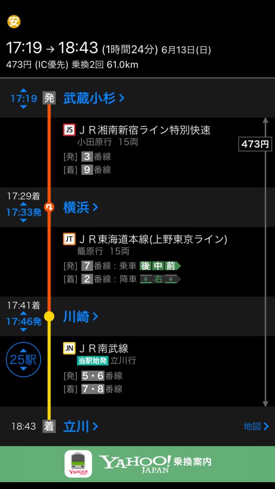 武蔵小杉から横浜へ行き、横浜から東海道線で川崎 川崎から、南武線で立川に行くのは、特例で大丈夫なんですか?