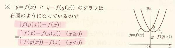 数学 関数の絶対値について 写真のような関数の差の絶対値があるのですが、なぜ範囲がx≧0とx<0なんでしょうか? 交わってる所は0でそれと関係ありそうだ、とは思ったのですが理解は出来ませんでした。