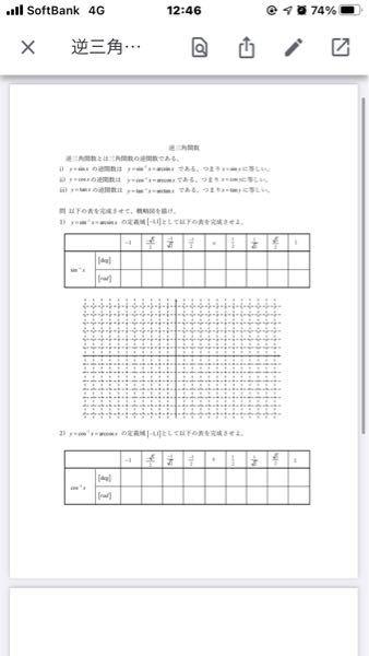 逆関数の表を埋めてください y=arcsinx y=arccosx