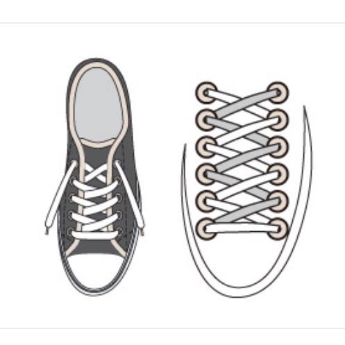 スニーカーの靴ひもの結び方 オーバーラップが一番見た目にも良いと思いますが 左足の場合 ヒモは画像のように 右斜め上を 上側にして 左斜め上を 下側にする。 そして右足は逆に反対であっていますでしょうか??