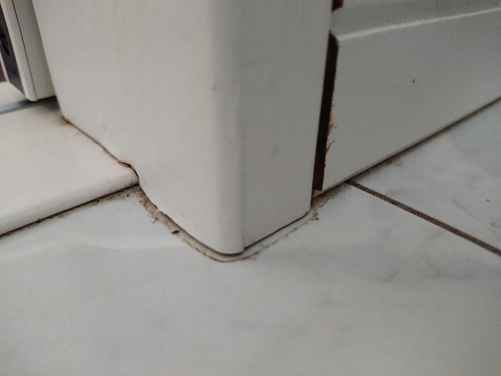 洗濯機を置いている洗面所の壁と床の間(隙間)から、白いものが染み出ています。 触っても手に着くことはなく、乾燥しているようです。まるで塗料か接着剤が固まったような感じです。 これは一体何でしょうか。