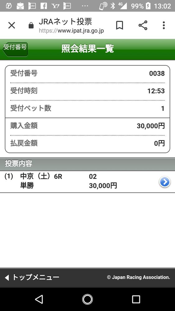 和田騎手ありがとう。ハラハラした。ズブい馬をちゃんと1着に持ってきてくれた。健康に悪い賭け方でしょうか?