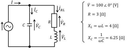 電気回路の問題です。 下の図でIをフェーザ表示で求めるとどうなりますか? 教えてください!