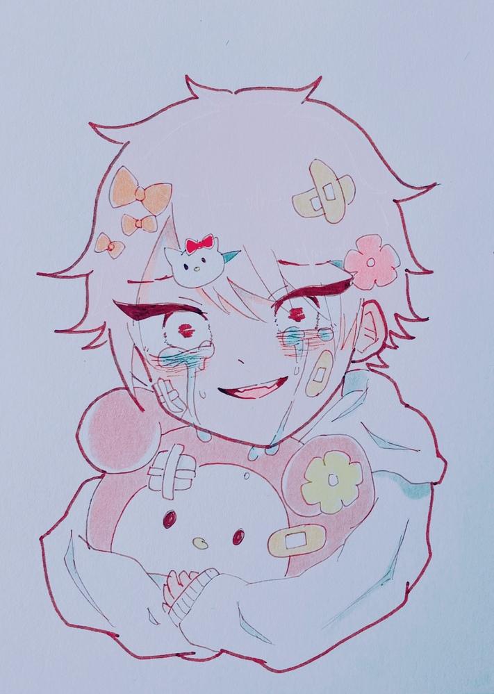 メンヘラ系マイメロ大好きな男の子です。目の色に悩んでます。何色なら可愛いですか?(※下手注意)