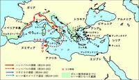 世界史A。ポエニ戦争の、カンナエ(カンネー)の戦い・ザマの戦いについての質問 スキピオ軍の進路がよくわからないです。最初、ローマからイベリア半島に行ったスキピオは、どのようにカルタゴに行ったのですか?図の経路で、何故いきなりスキピオ軍がイベリア半島からシチリア島に飛んでいるのかわかりません。 進路不明ということでしょうか?分かる方がいたら教えてください。(._.)
