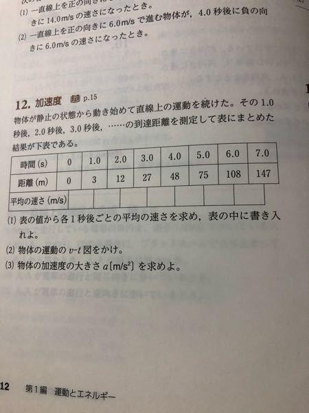 物理です。 これの(3)についてです。 この問題の答えは6.0m/s²です。 a=15/2.5となっていました。 これを表から読み取ったのだと思います。 でも何故2.5の場所を選んだのかがわかりません。3.5を選んで書いたらばつなのですか?