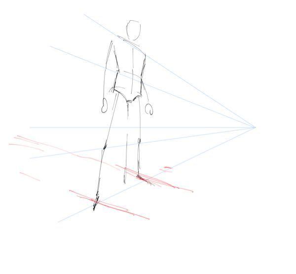 パースについて質問させて頂きます。 肩から消失点にかけての青色の線は理解できるのですが、赤色の線の消失点を捉えることができません。 どこに線を引けば良いのでしょうか…?教えて頂けると幸いです!