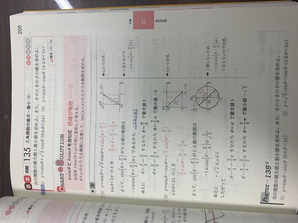 高校数学です。 (2)のyの範囲はどうやって求めたのですか?