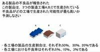 不良品がどの工場で生産された可能性が最も高いか 以下の計算等、根拠とともに判断してください。  p(工場A|不良品)  判断結果と理由と答えよ。