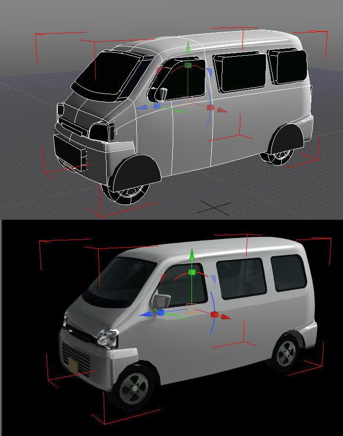 shade13を使用し始めた初心者です。 shadeと一緒に素材集「車の森」というソフトをいただき shade13で読み込むと読み込んだ形状が窓が飛び出していたり、タイヤハウスにカバーの様な物が掛かってたり形状がガタガタ(画像上) なのにレンダリングすると綺麗(画像下) 形状データをobjやDXFなどにエクスポートすると画像上のようなガタガタ形状でエクスポートされてしまうのです。 レンダリングした時のような綺麗な状態でobjとかにエクスポートする方法はあるのでしょうか? 公式に質問しようにもなにせ古い物なのでQ&Aを見てもわからず困っております。 どなたかお詳しい人がおりましたらこの初心者にお知恵をいただけると助かります。 よろしくお願いいたします。