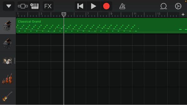 garagebandの事です この緑色の帯をくっつけたり分割する方法はありますか?