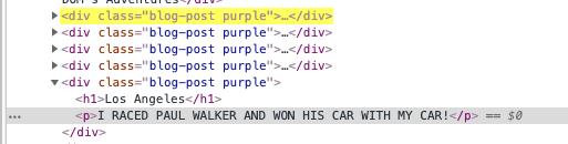 """JavaScript DOMの勉強中です。 画像にあります、クラス名""""blog-post""""として、新しいdivを追加したいです。 画像の通り、divと併せて、h2タグとpタグも作成したいです。 document.createElementを使ってのタグの指定の仕方、 <h2>と<p>タグを含むdivの作成の仕方が分かりません。"""