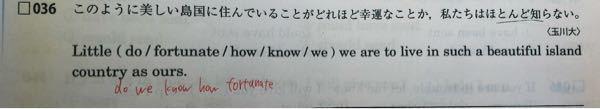 英語の問題なのですが、なぜこの語順になるのか分かりません。どなたか教えてください。