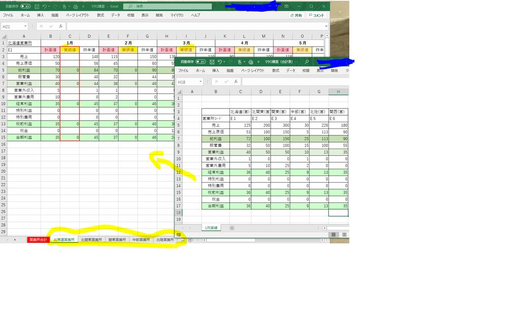 VBA習い始めです 毎月の各営業所の売上実績を、営業所別の年間実績表に 入力する際にマクロ記録で 営業所コード(E1、E2・・・)を使って、hlookup関数で入力していくのですが、 1)特定のシート(営業所合計シート)を除いて、営業所別のシートだけに繰り返し処理をする場合は、マクロでどういうコードを使えばいいですか?For Eachや For i to 20 などは回数が決まっていたり、すべてのシート繰り返しになるので、使えないのでしょうか? 営業所のシートは増える可能性があり、繰り返し処理の回数を決められません 2)また2月実績、3月実績と元データが更新された場合、作成したマクロを変えずにどうやって、2月の実績のセル位置に移動して入力をさせることができますか? だれかご回答いただけると幸いです