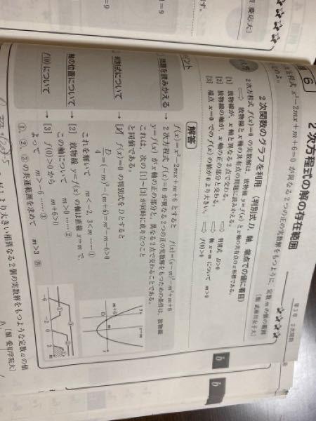 判別式についてのD/4=(−m)^2一(m +6)の(−m)はどうやって導出しますか。教えてください。お願いします。